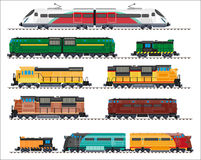 Railway transport: locomotives, trains, wagons Royalty Free Stock Photos