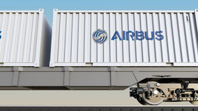 Railway transportation of containers with Airbus logo. Editorial 3D rendering. Railway transportation of containers with Airbus logo. Editorial 3D Royalty Free Stock Photography