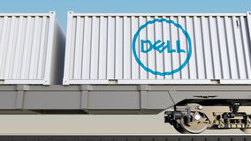 Railway transportation of containers with Dell Inc. logo. Editorial 3D rendering Royalty Free Stock Photos