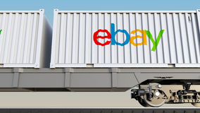Railway transportation of containers with eBay Inc. logo. Editorial 3D rendering. Railway transportation of containers with eBay Inc. logo. Editorial 3D royalty free illustration