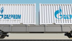 Railway transportation of containers with Gazprom logo. Editorial 3D rendering 4K clip royalty free illustration
