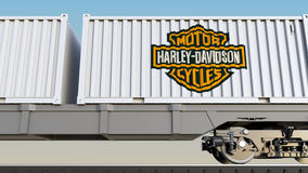 Railway transportation of containers with Harley-Davidson, Inc. logo. Editorial 3D rendering. Railway transportation of containers with Harley-Davidson, Inc Royalty Free Stock Photography