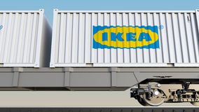 Railway transportation of containers with Ikea logo. Editorial 3D rendering. Railway transportation of containers with Ikea logo. Editorial 3D royalty free illustration