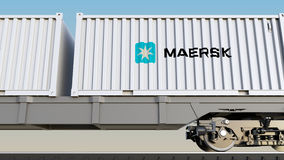 Railway transportation of containers with Maersk logo. Editorial 3D rendering Stock Images