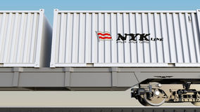 Railway transportation of containers with Nippon Yusen logo. Editorial 3D rendering Stock Photography