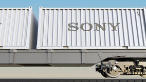 Railway transportation of containers with Sony Corporation logo. Editorial 3D rendering. Railway transportation of containers with Sony Corporation logo Stock Image