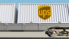 Railway transportation of containers with United Parcel Service UPS logo. Editorial 3D rendering Royalty Free Stock Image