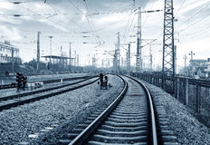Railway transportation hub, gray tone image. Stock Photos