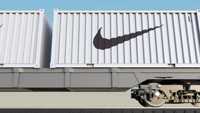 Railway Transportation Of Containers With Nike Inscription And Logo. Editorial 3D Rendering Royalty Free Stock Image
