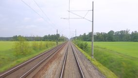 Railway travel point of view. Train journey point of view stock footage