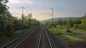 Railway travel point of view. Train journey point of view stock video footage