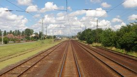 Railway travel view. Train journey point of view stock video