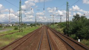 Railway travel view. Train journey point of view stock footage