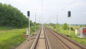 Railway travel view. Train journey point of view stock video footage
