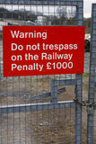 Railway Trespass sign Royalty Free Stock Images