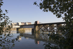 A Railway Trestle. Spanning the Fraser River in Vancouver, British Columbia Stock Images