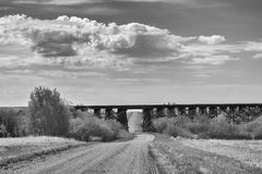 Railway trestle in black and white Royalty Free Stock Images