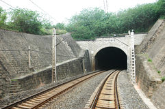 Railway tunnel. Curved Tracks,  train tunnel , Public Transportation Royalty Free Stock Photos