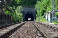 Railway tunnel entry Royalty Free Stock Image