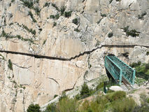Railway and tunnel in gorge in El Chorro Stock Images