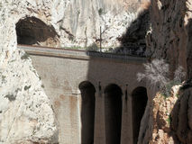 Railway and tunnel in gorge in El Chorro Royalty Free Stock Photo