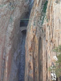 Railway and tunnel in gorge in El Chorro Royalty Free Stock Image