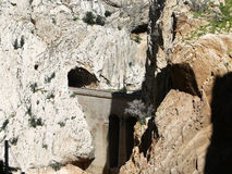 Railway and tunnel in gorge in El Chorro Stock Image