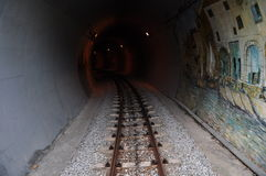 Railway tunnel. Outside and inside railway tunnels Stock Image