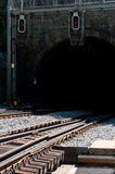 Railway tunnel and signaling Royalty Free Stock Images