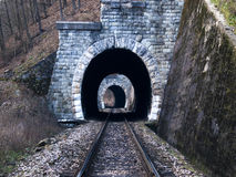 Railway tunnels before train. Railway tunnels in nice nature before train Stock Photo