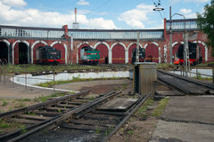 Railway turntable and the roundhouse Stock Photo