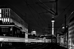Railway and the TV tower at Alexanderplatz Royalty Free Stock Photography
