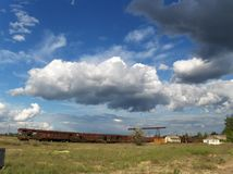 Railway under clouds Stock Images