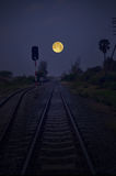 Railway under full moon sky in the evening Royalty Free Stock Images