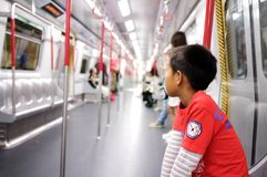 Railway boy metro subway stock photography