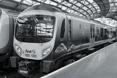 Railway in United Kingdom. LIVERPOOL, UK - APRIL 20, 2013: TransPennine Express train in Liverpool, UK. TransPennine is operated by FirstGroup and Keolis stock photo