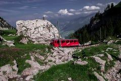 Railway up the momuntain stock photography