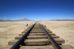 Railway through Uyuni Salt Flats, Bolivia Stock Image