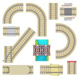 Railway vector railroad tracks top view curvy road straight rail or way with railway bridge tunnel and railing set Stock Image