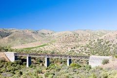 Railway viaduct. Near border of Portugal, Castile and Leon, Spain Royalty Free Stock Photos