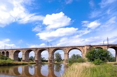 Railway viaduct. And the blue and cloudy sky, Poland Royalty Free Stock Photo