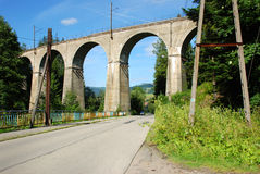 Railway viaduct. Over the road in the Wisla (Poland Stock Image