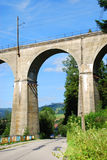 Railway viaduct. Over the road in the Wisla (Poland Stock Photos