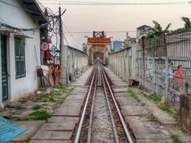 Railway Train Bridge in Hanoi Vietnam royalty free stock image