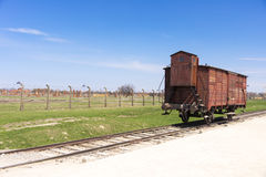 Railway wagon in Auschwitz concentration camp Royalty Free Stock Photography