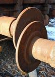 Railway wagon buffers. Abandoned rusty steel railway wagon buffers close-up Royalty Free Stock Images