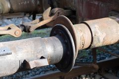 Railway wagon coupling. Detail of an old, rusted railway wagon clutch royalty free stock photography