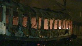 Railway wagon on fire. At night stock footage