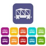Railway wagon icons set flat Royalty Free Stock Image