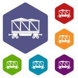 Railway wagon icons set hexagon Stock Image